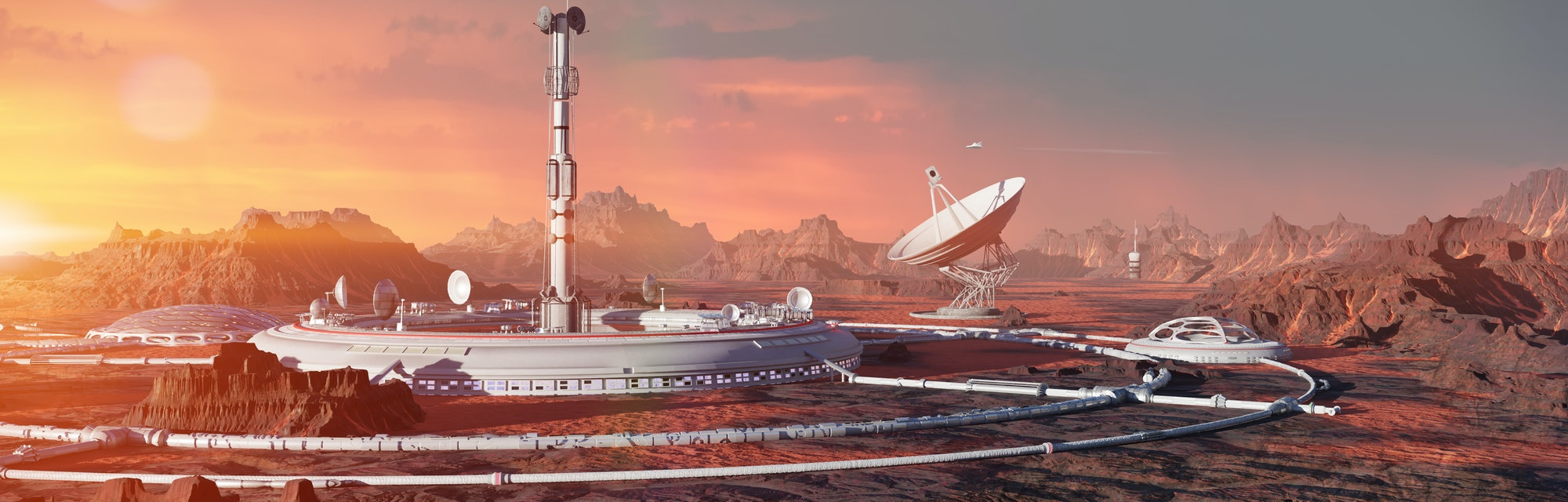 station on Mars surface, first martian colony in desert landscape on the red planet (3d space illust...
