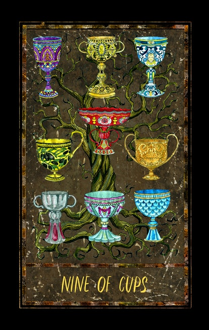 Nine of cups. Minor Arcana tarot card. The Magic Gate deck. Fantasy graphic illustration with occult magic symbols, gothic and esoteric concept