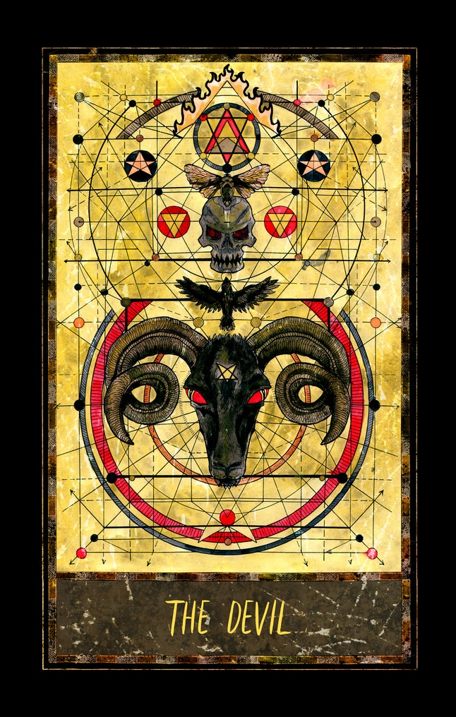 Devil. Major Arcana tarot card. The Magic Gate deck. Fantasy graphic illustration with occult magic symbols, gothic and esoteric concept