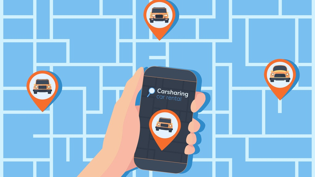 Carsharing service illustration. Abstract urban map with geolocation mark, different cars and smartphone in hand. Online rental car.