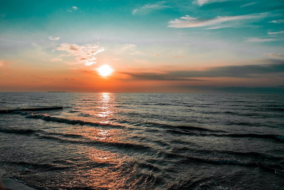 dawn sunset sea or ocean