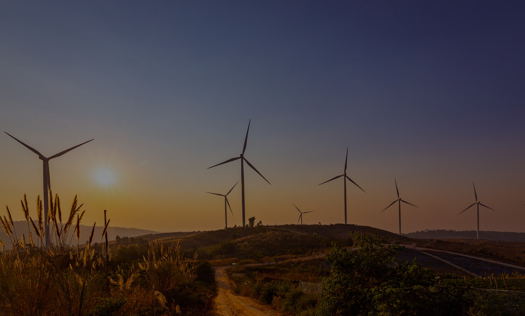 Electricity production with wind turbines Wind turbine pictures produce evening lights