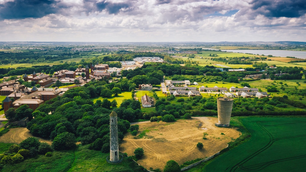 Landscape aerial view of Donabate region in Dublin, Ireland.