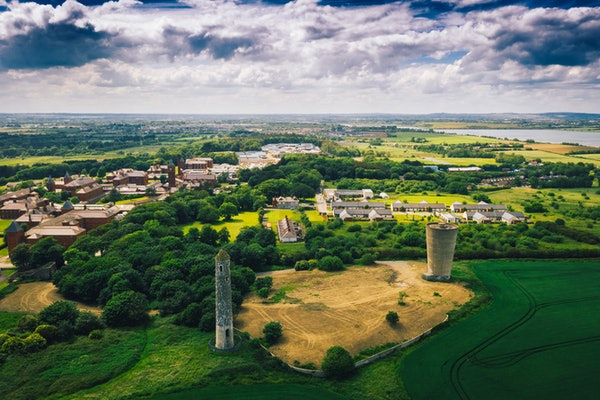 Landscape aerial view of Donabate region in Dublin, Ireland.