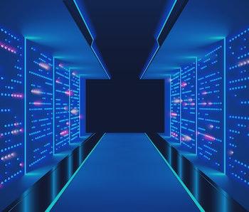Data center abstract background. Interior of server room. Digital information warehouse. Web hosting technology. Computer racks in database communication system. Cluster optical fiber networking.