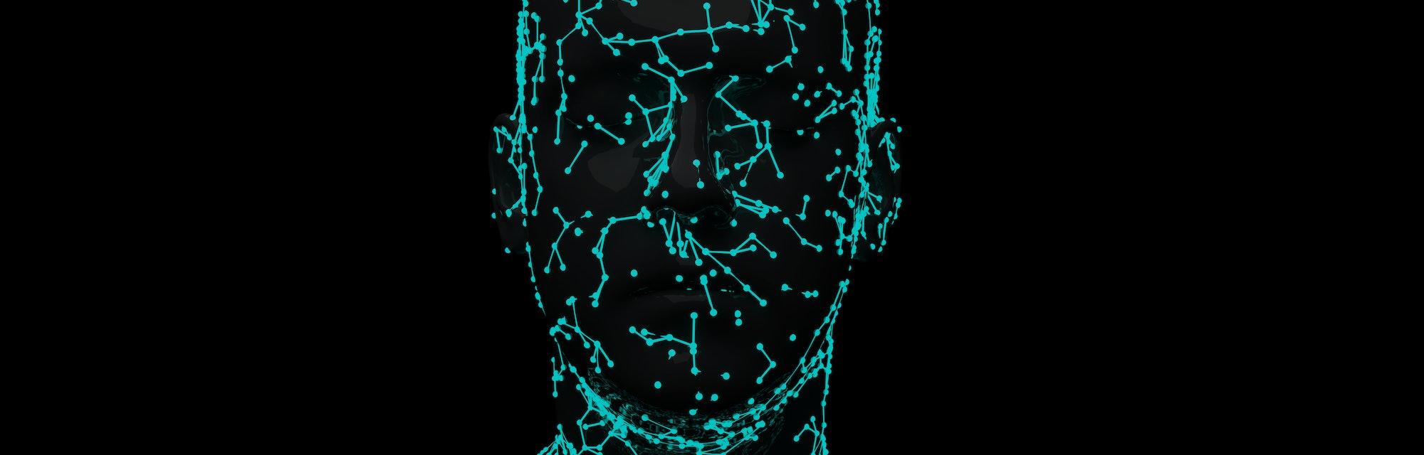 Facial Recognition System 3d illustration