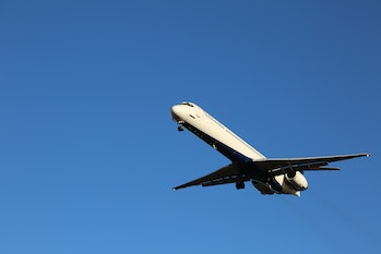 A Delta Plane flying overhead.