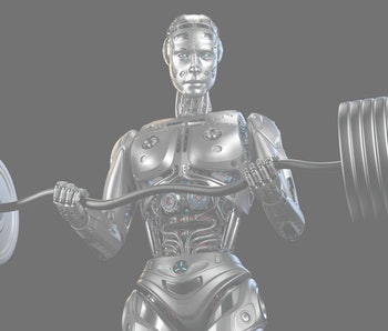 Futuristic robot man working out with barbell. Very strong cyborg lifting heavy weights or training his muscles. Isolated on black background. 3d Illustration.
