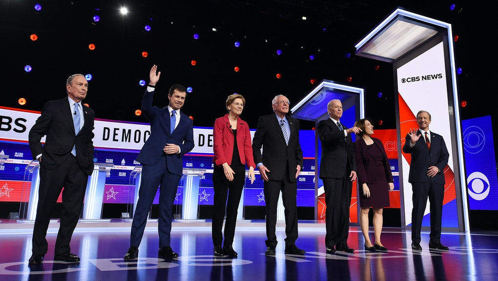 Michael Bloomberg, Pete Buttigieg, Elizabeth Warren, Bernie Sanders, Joe Biden, Amy Klobuchar and Tom Steyer