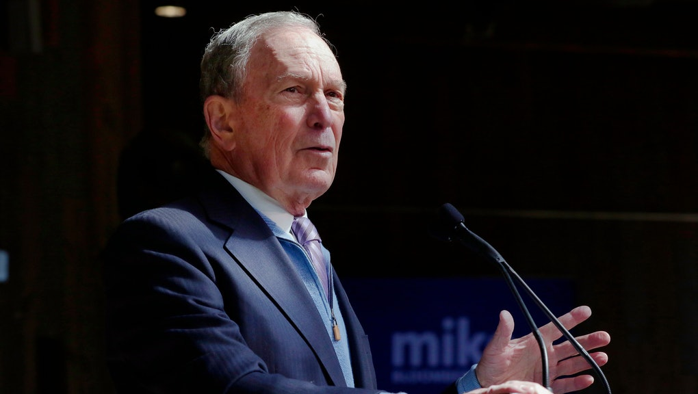 Democratic presidential candidate former New York City Mayor Mike Bloomberg speaks during a campaign event at The Rustic Restaurant, in Houston