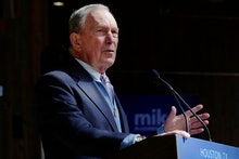 Democratic presidential candidate former New York City Mayor Mike Bloomberg speaks during a campaign...