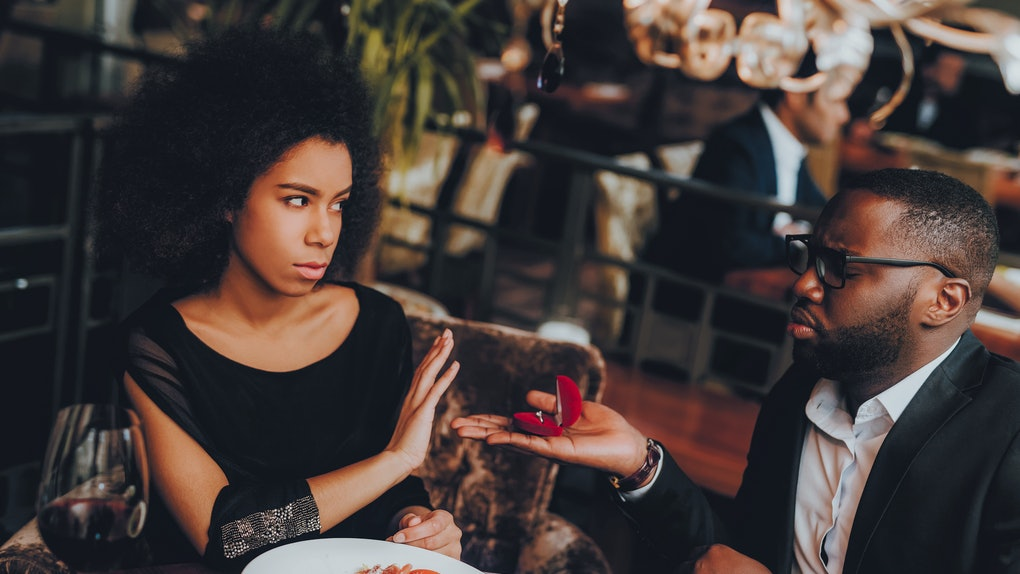 Man Proposing Engagement Ring and Getting Denied. Romantic African American Couple in Love Dating. Cutel Man and Girl in a Restaurant. Romantic Concept. Negative Reaction to Proposing.