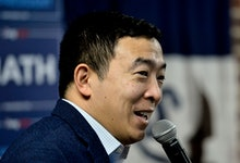 Andrew Yang campaigns to be the 2020 Democratic presidential nominee at the Tipton High School in Ti...