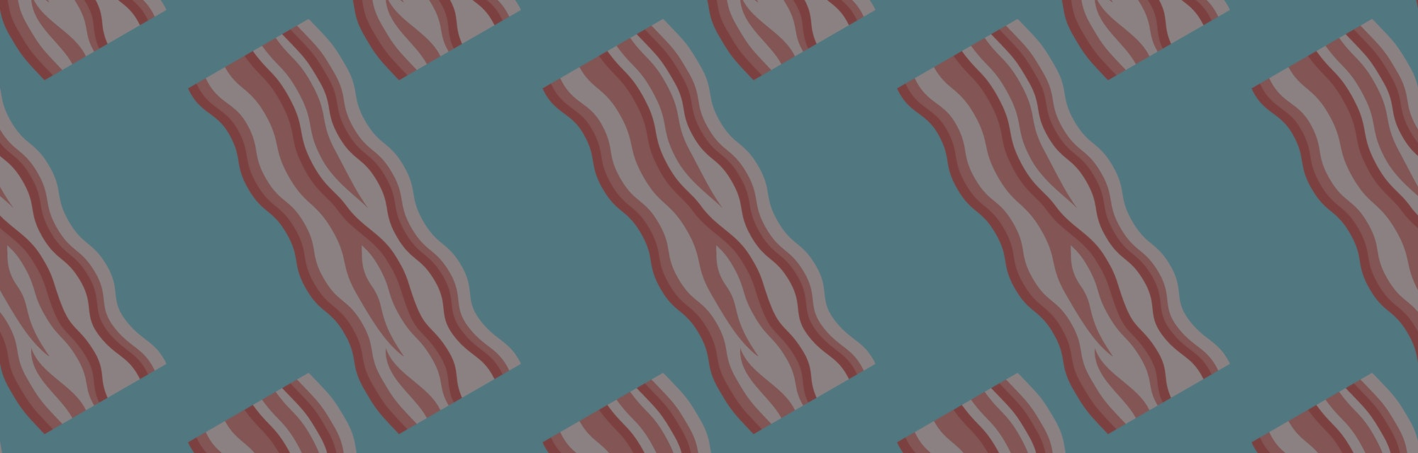 Seamless pattern with bacon strips on blue background. Vector texture.