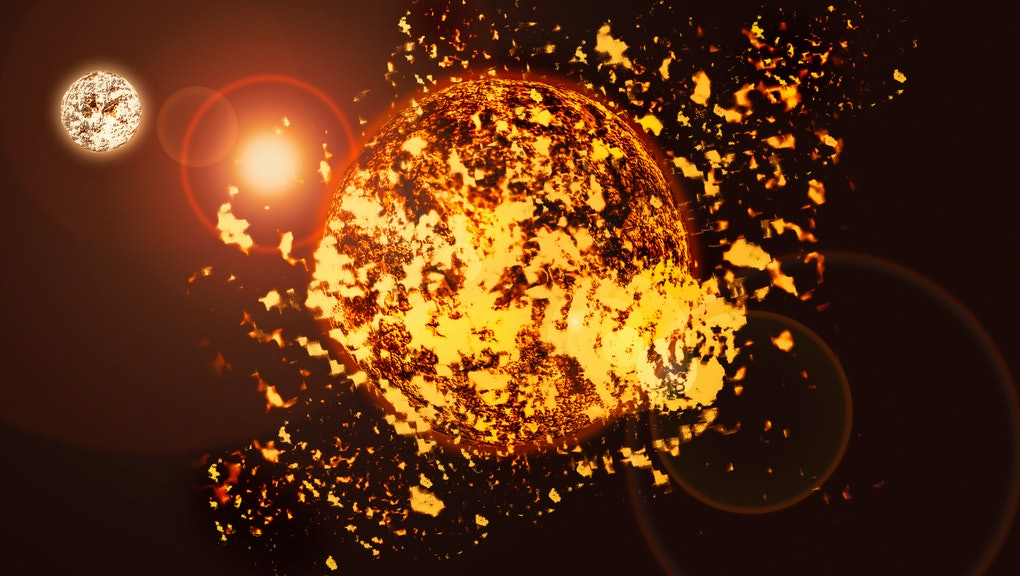 sun explosion, solar activity of rays and plasma in space dwarf star 3D illustration
