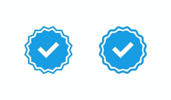 blue check mark badge icons in flat style, vector illustration
