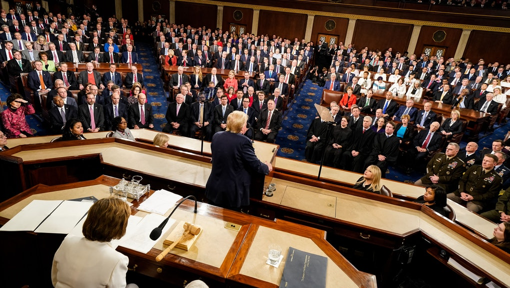 US President Donald Trump (C) delivers his State of the Union address to a joint session of the US Congress in the House chamber of the US Capitol in Washington, DC, USA, 04 February 2020.