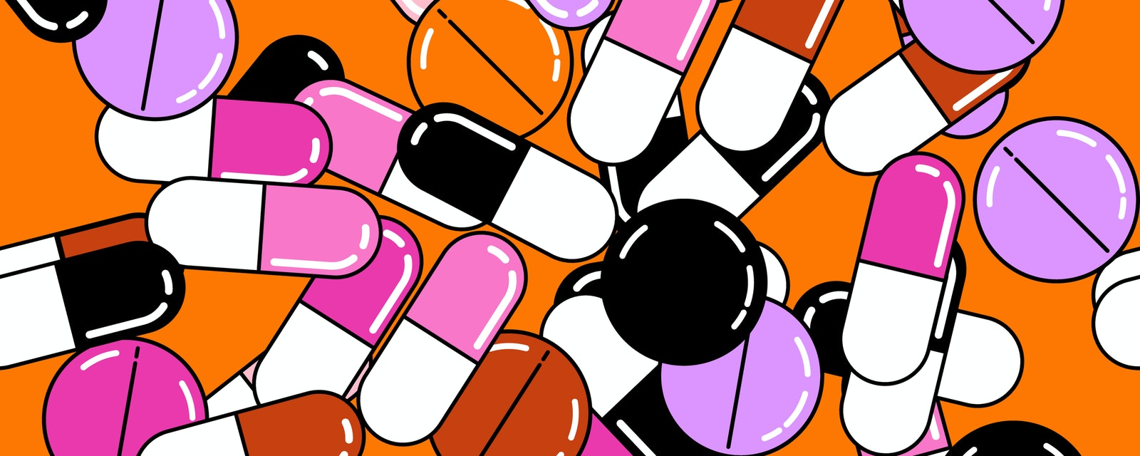 Seamless vector pattern with colorful  medical pills in vaporwave cartoon 80s-90s style.