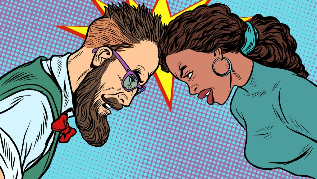 man vs woman, confrontation and competition. Gender inequality and the fight against stereotypes. Pop art retro vector illustration