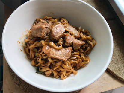 Jjapaguri, Korean Black Spicy Noodles with Diced Beef