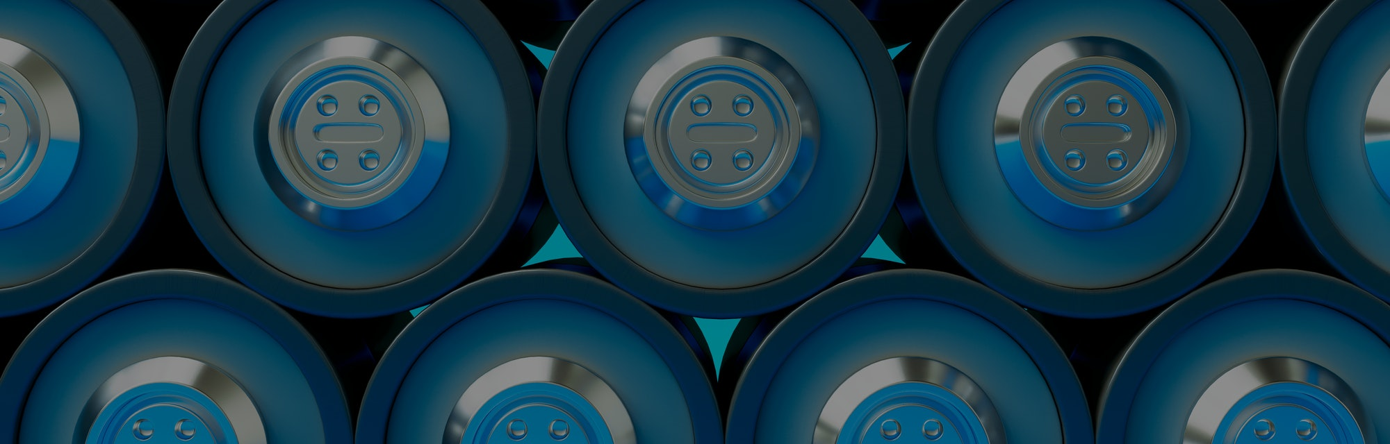 3D render of many lithium cell batteries. Storage of glossy rechargeable accumulators.
