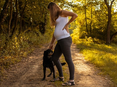 If your dog is too rambunctious, you might want to ask someone to help you walk your dog while you're in labor.