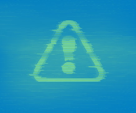 Virus Alert. Glitched Attention. Virus detected, alert alarm message in a distorted glitch style. Danger Symbol. Computer Hacked Error Concept. Hacking Piracy Risk Shield. Vector Illustration.