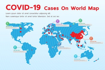 Covid-19, Covid 19 map confirmed cases report worldwide globally. Coronavirus disease 2019 situation update worldwide. Maps show where the coronavirus has spread, graphic on white background