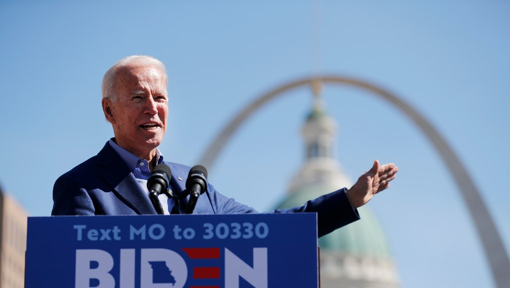 Democratic presidential candidate former Vice President Joe Biden speaks during a campaign rally, in St. Louis