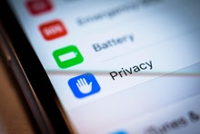 Privacy Settings displayed on an iPhone, iOS, smartphone, display, close-up, detail, Germany