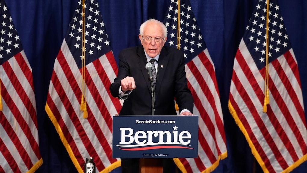 Democratic presidential candidate, Sen. Bernie Sanders, I-Vt., speaks to reporters, in Burlington, Vt