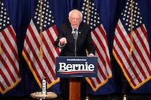 Democratic presidential candidate, Sen. Bernie Sanders, I-Vt., speaks to reporters, in Burlington, V...