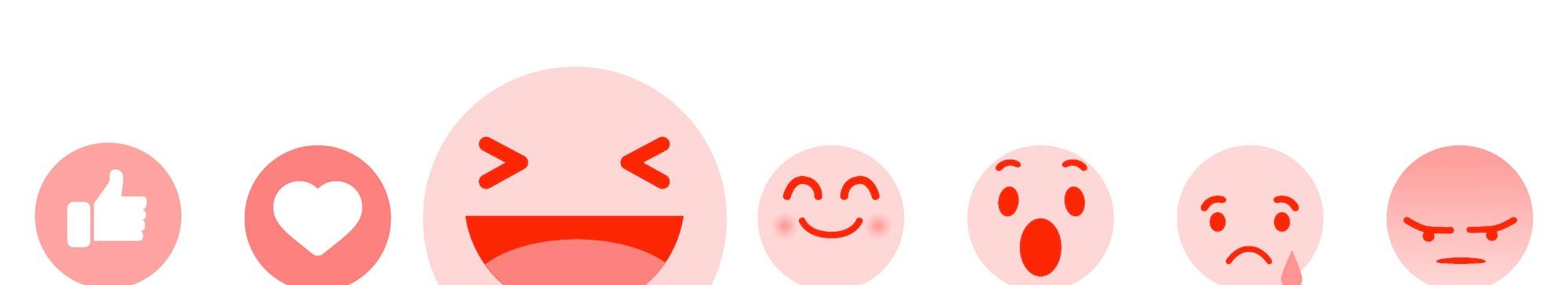 Modern Flat Design Vector Facebook Emoji Set with Different Reactions for Social Network. Vector illustration.