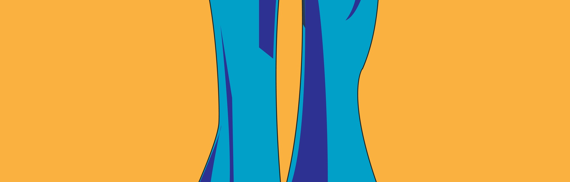 Trousers flared. 1970s fashion. Blue jeans on a brown background. Vector illustration.