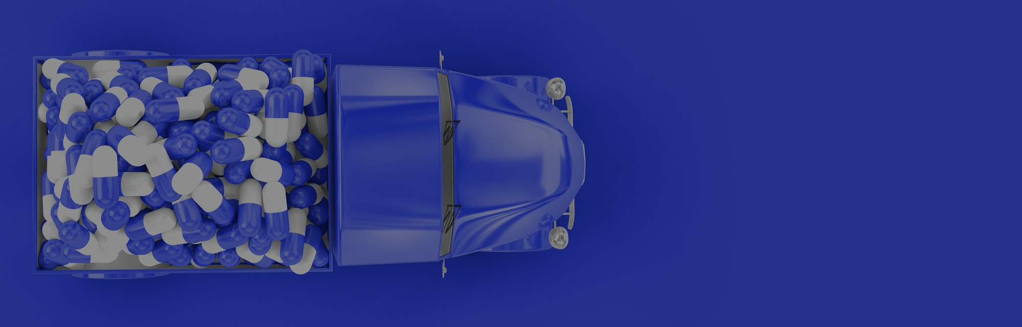 The vehicle from which on-the-go are scattered pills/ Concept art on the theme of drug delivery/ 3D illustration