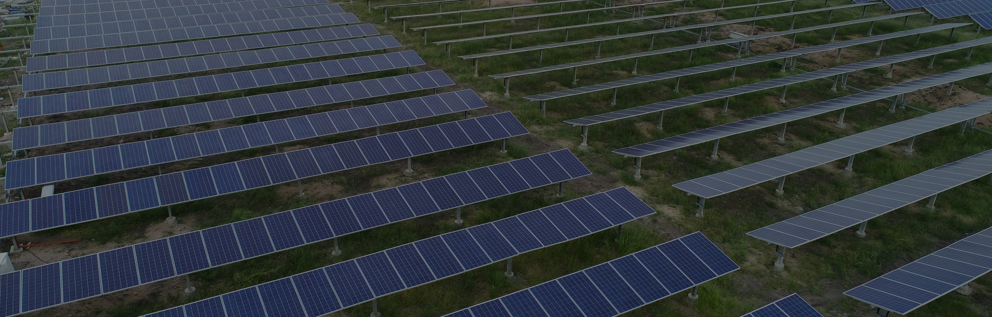 Aerial View of solar farm or solar power plant near Raichur, India