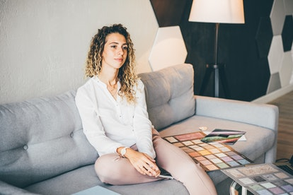 Woman designer working at home. Working home concept.