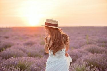 Back view of beautiful girl in a white dress and hat in a lavender field at sunset