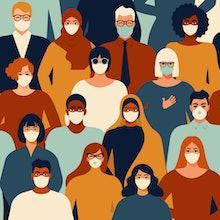 Coronavirus in China. Novel coronavirus (2019-nCoV), people in white medical face mask. Concept of c...