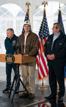 Governor Andrew Cuomo speaks to the media and tours newly opened drive through COVID-19 mobile testi...
