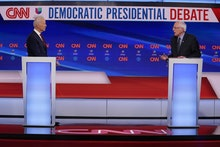 Sen. Bernie Sanders, I-Vt., and former Vice President Joe Biden, participate in a Democratic preside...