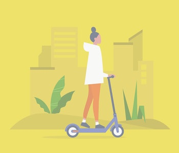 Young female character riding an electric scooter. Urban  transportation. Modern technologies. Millennial lifestyle. Active young adults. Flat editable vector illustration, clip art