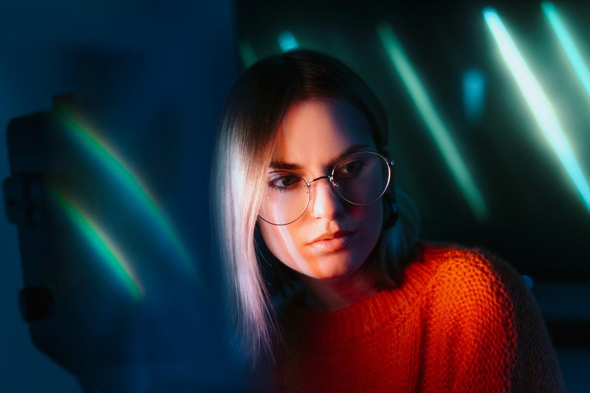 Beautiful girl with neon light