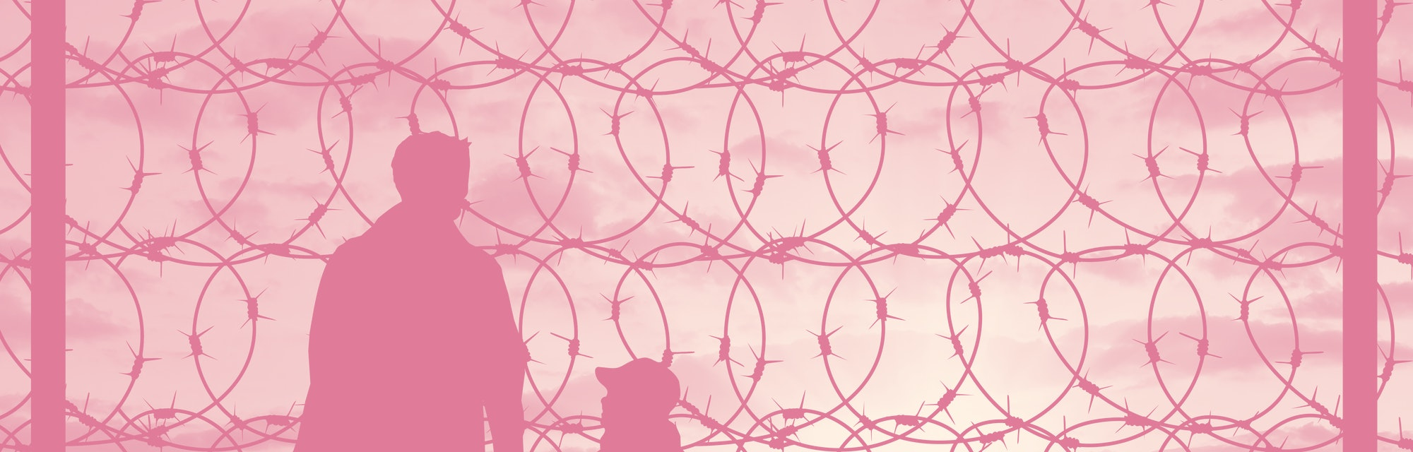 Concept of refugee. Silhouette of a family with a child refugee father near the fence with barbed wire at sunset