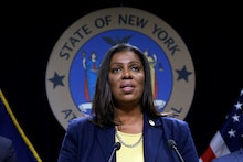 New York State Attorney General Letitia James speaks during a news conference at her office in New Y...