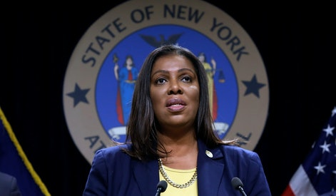 New York State Attorney General Letitia James speaks during a news conference at her office in New York, . New York has joined the ranks of states suing the nation's biggest e-cigarette maker, San Francisco based JUUL Labs