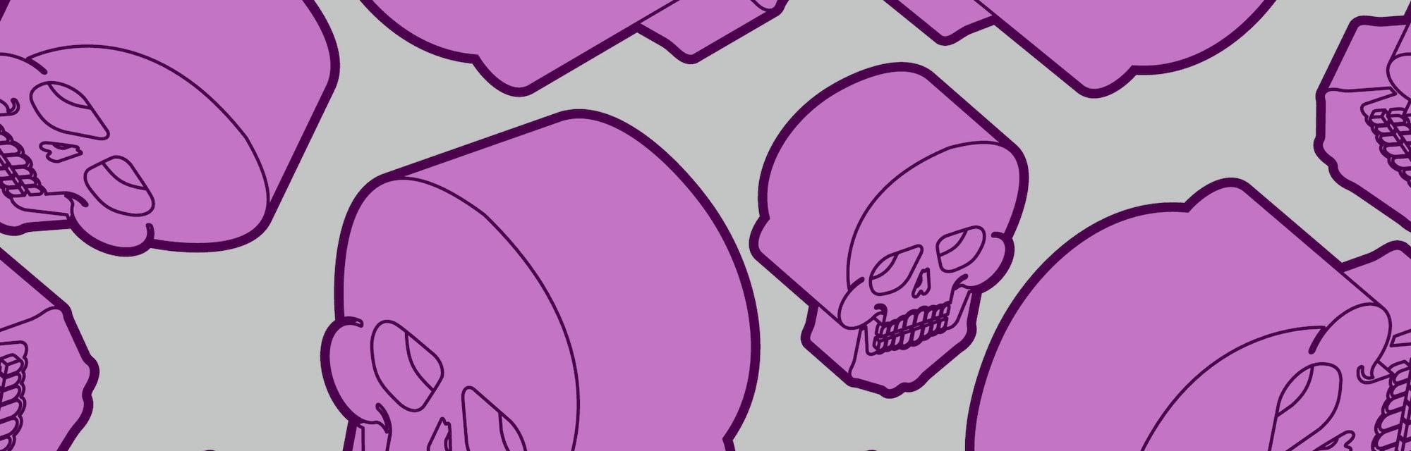 Skull pattern seamless. Skeleton background. undead texture Vector
