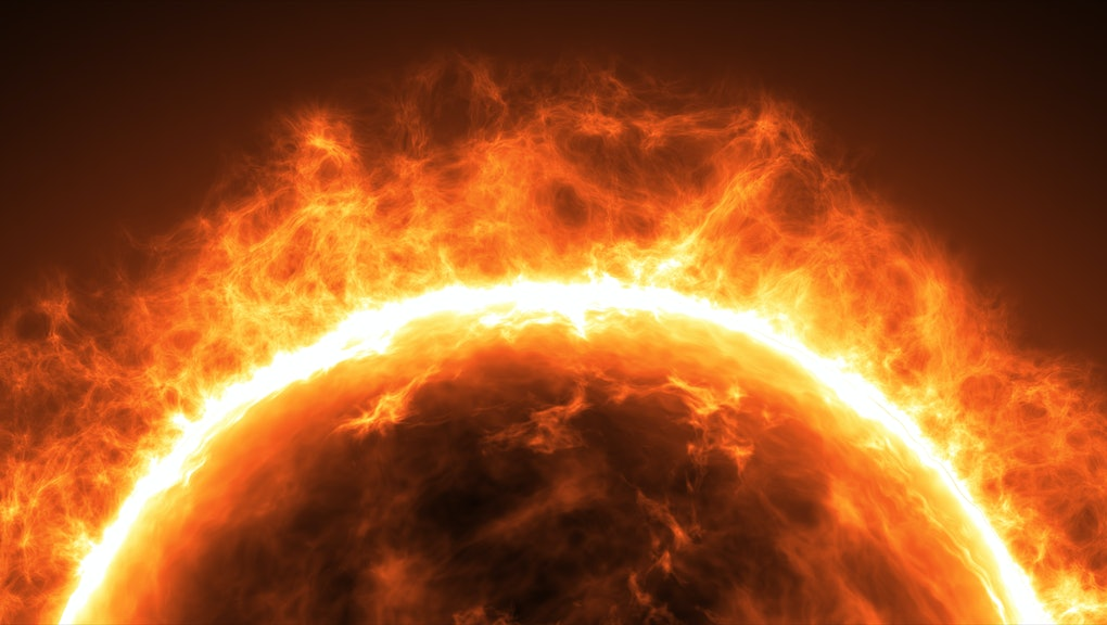 Sun surface with solar flares. Abstract scientific background.