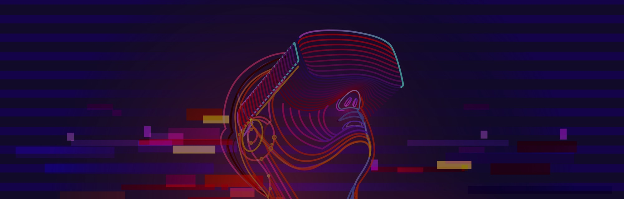 Digital glitch effect in abstract virtual reality. Man wearing vr glasses. Vector illustration