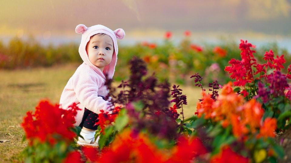 Baby girl in spring Flower Garden